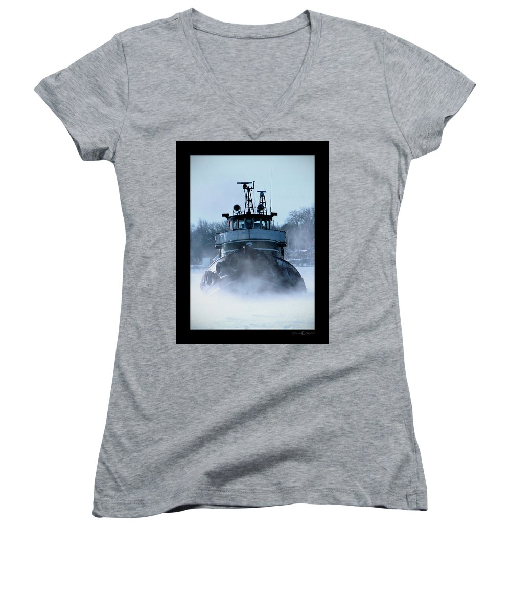 Tug Women's V-Neck T-Shirt featuring the photograph Winter Tug by Tim Nyberg