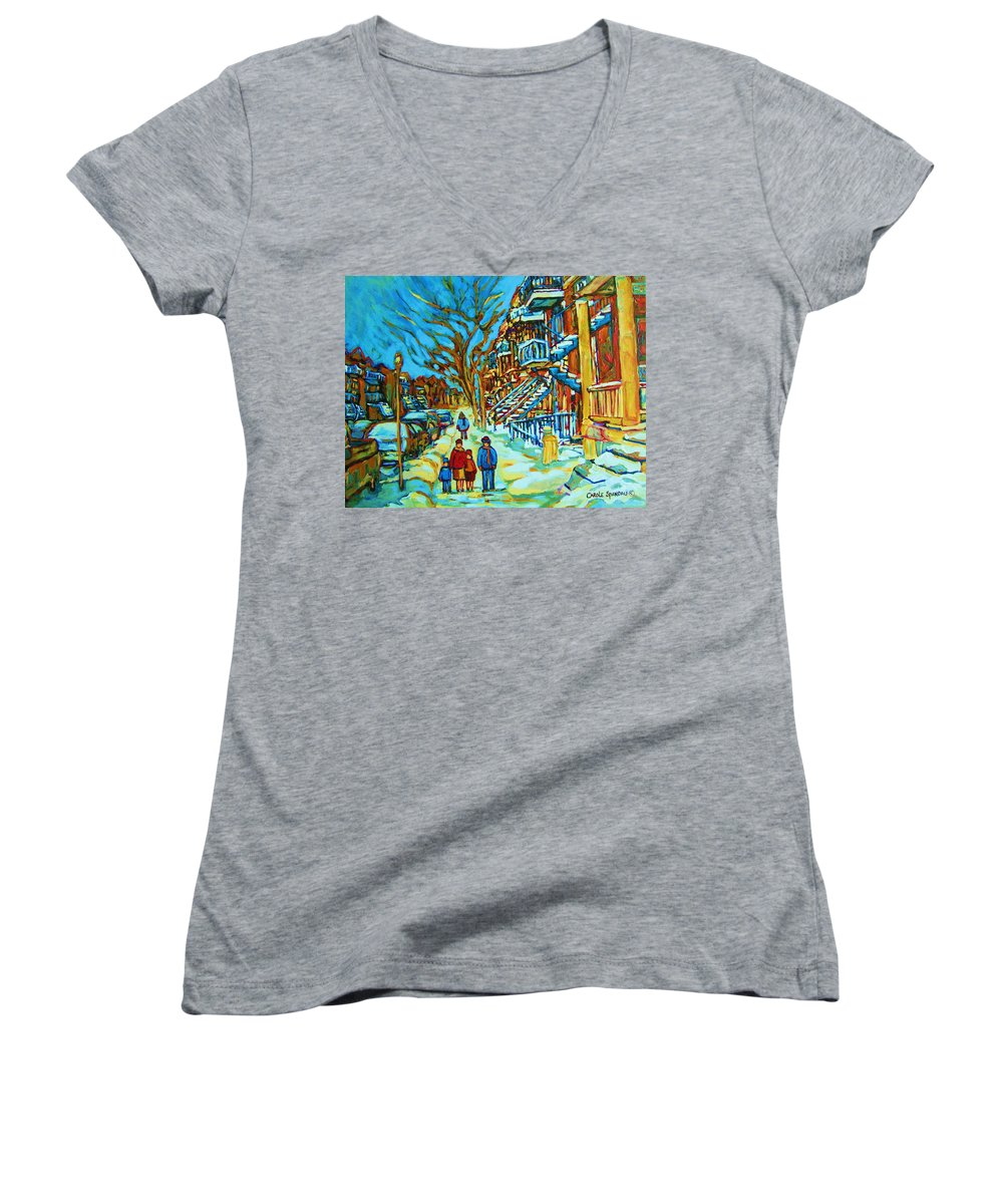 Winterscenes Women's V-Neck T-Shirt featuring the painting Winter Walk In The City by Carole Spandau