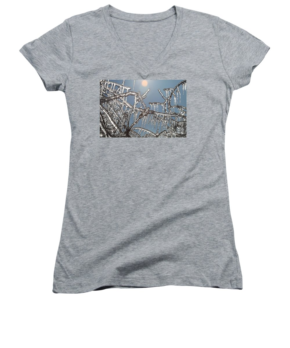 Winter Women's V-Neck T-Shirt featuring the photograph Winter Warmth by Nadine Rippelmeyer