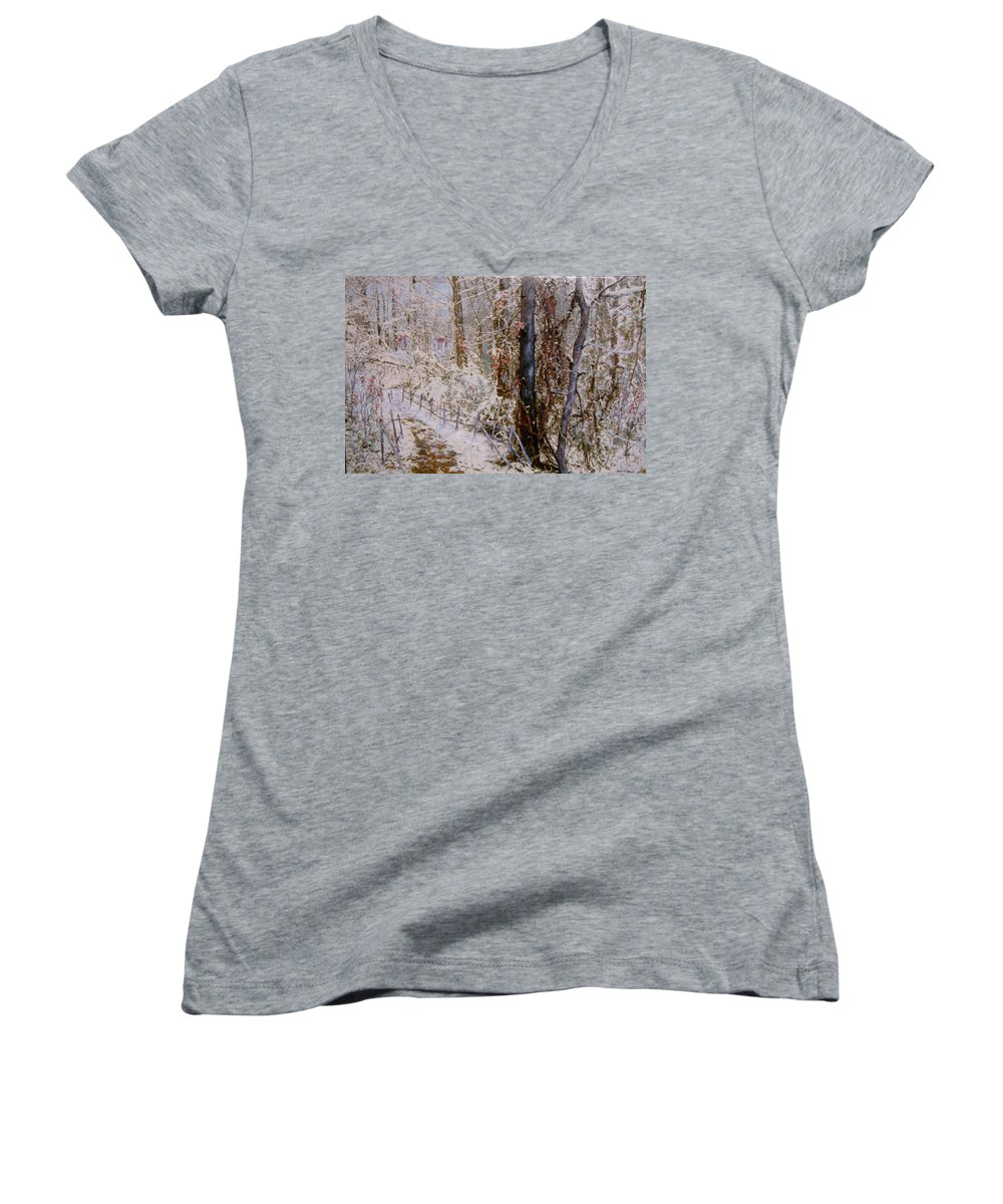 Snow; Trees Women's V-Neck T-Shirt featuring the painting Winter Wonderland by Ben Kiger