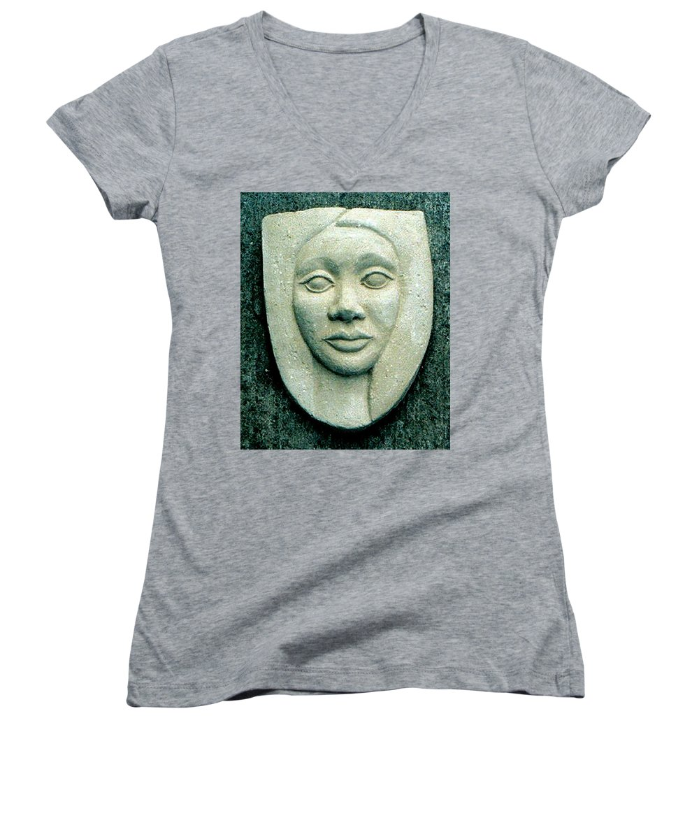 Relief Women's V-Neck T-Shirt featuring the relief Without Veils by Madalena Lobao-Tello