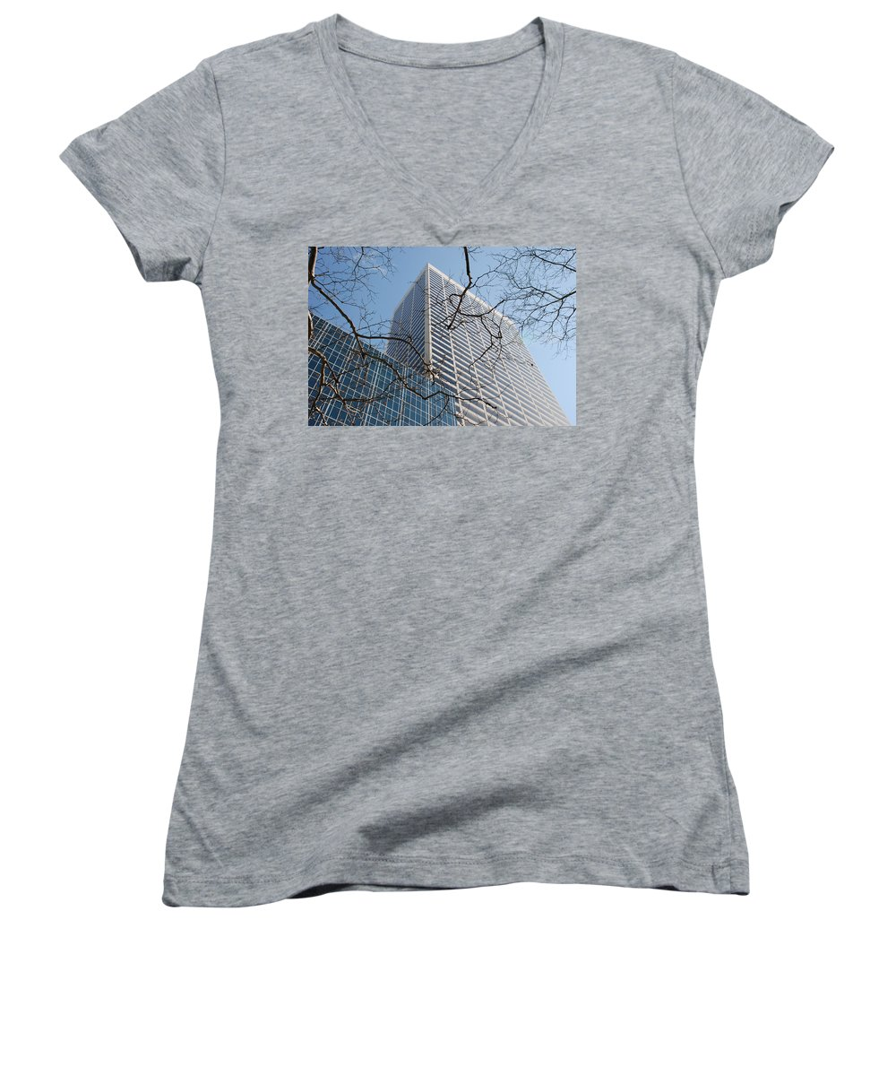 Architecture Women's V-Neck (Athletic Fit) featuring the photograph Wood And Glass by Rob Hans