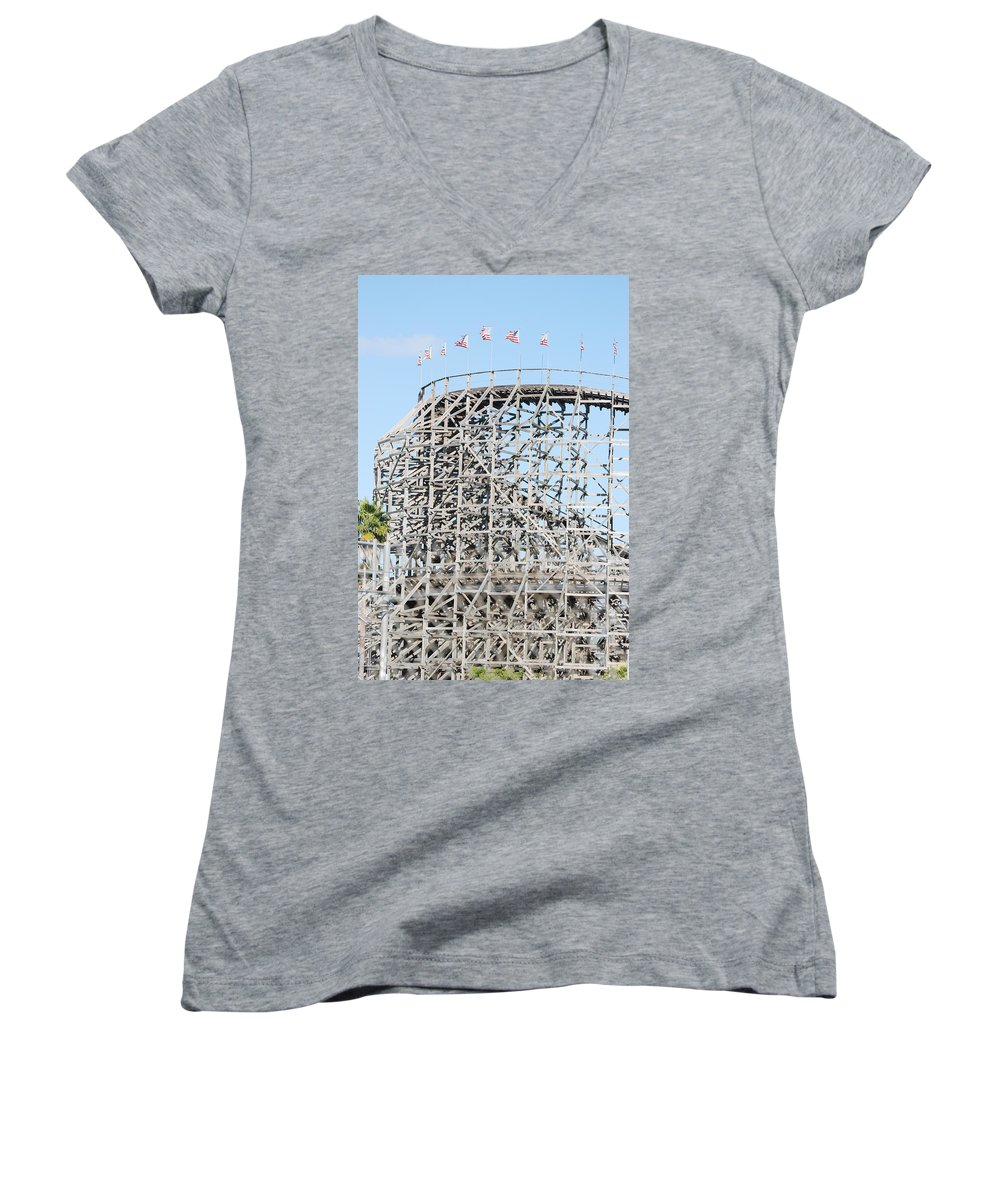 Pop Art Women's V-Neck T-Shirt featuring the photograph Wooden Coaster by Rob Hans
