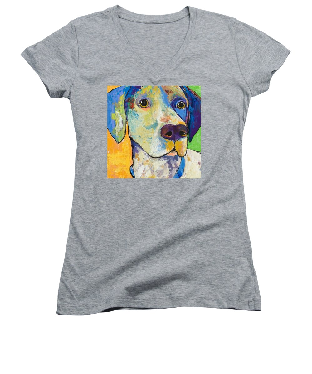 German Shorthair Animalsdog Blue Yellow Acrylic Canvas Women's V-Neck T-Shirt featuring the painting Yancy by Pat Saunders-White