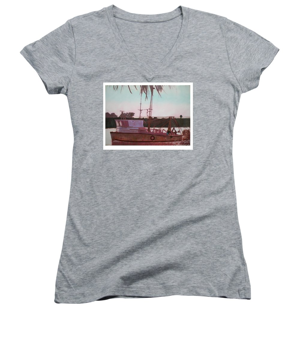 Seascape Women's V-Neck T-Shirt featuring the digital art Yankee Town Fishing Boat by Hal Newhouser