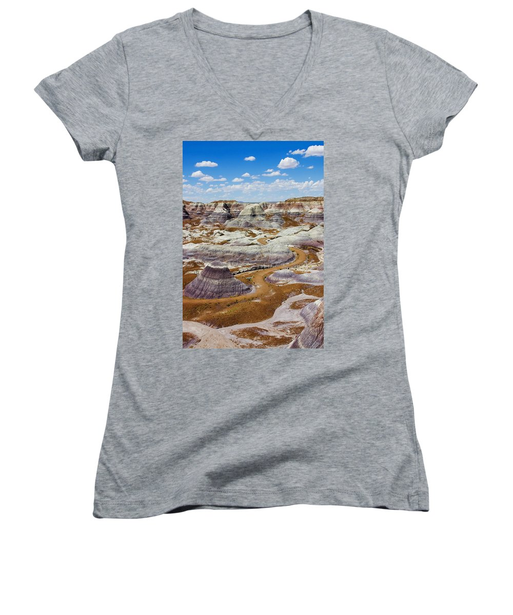 Painted Desert Women's V-Neck (Athletic Fit) featuring the photograph Yea Though I Walk by Skip Hunt