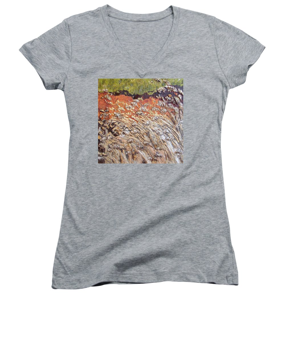 Abstract Women's V-Neck T-Shirt featuring the painting Yearning by Piety Choi