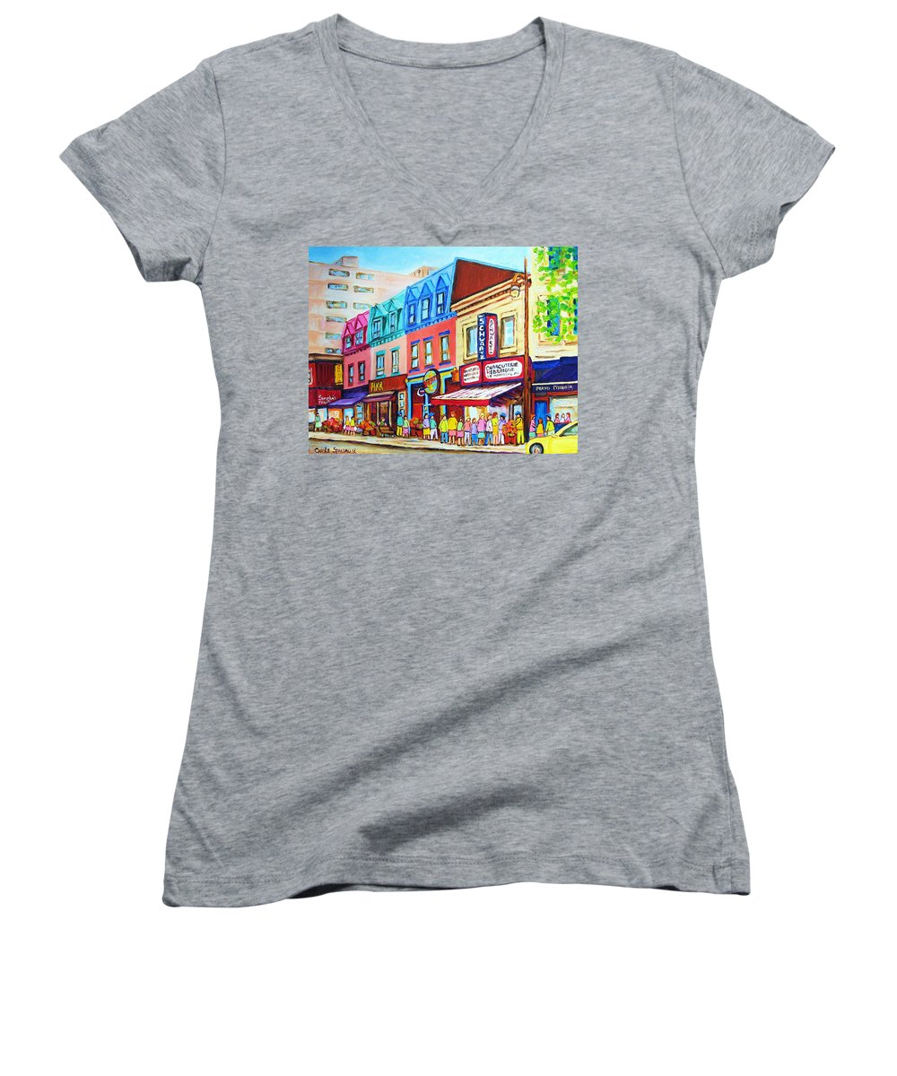 Reastarant Women's V-Neck T-Shirt featuring the painting Yellow Car At The Smoked Meat Lineup by Carole Spandau