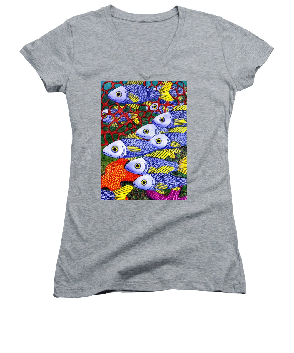 Fish Women's V-Neck (Athletic Fit) featuring the painting Yellow Fins by Catherine G McElroy