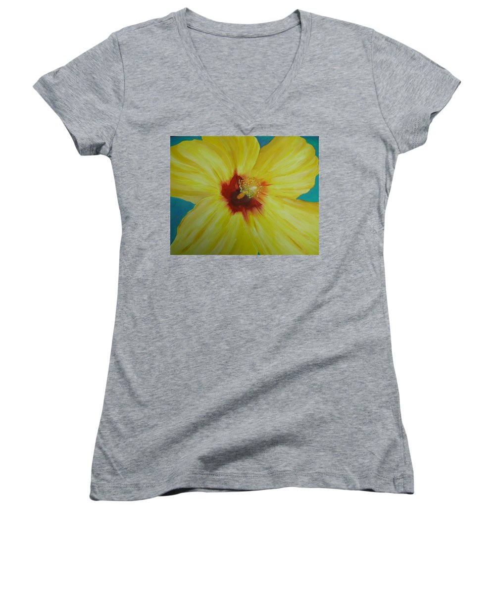 Flower Women's V-Neck T-Shirt featuring the print Yellow Hibiscus by Melinda Etzold