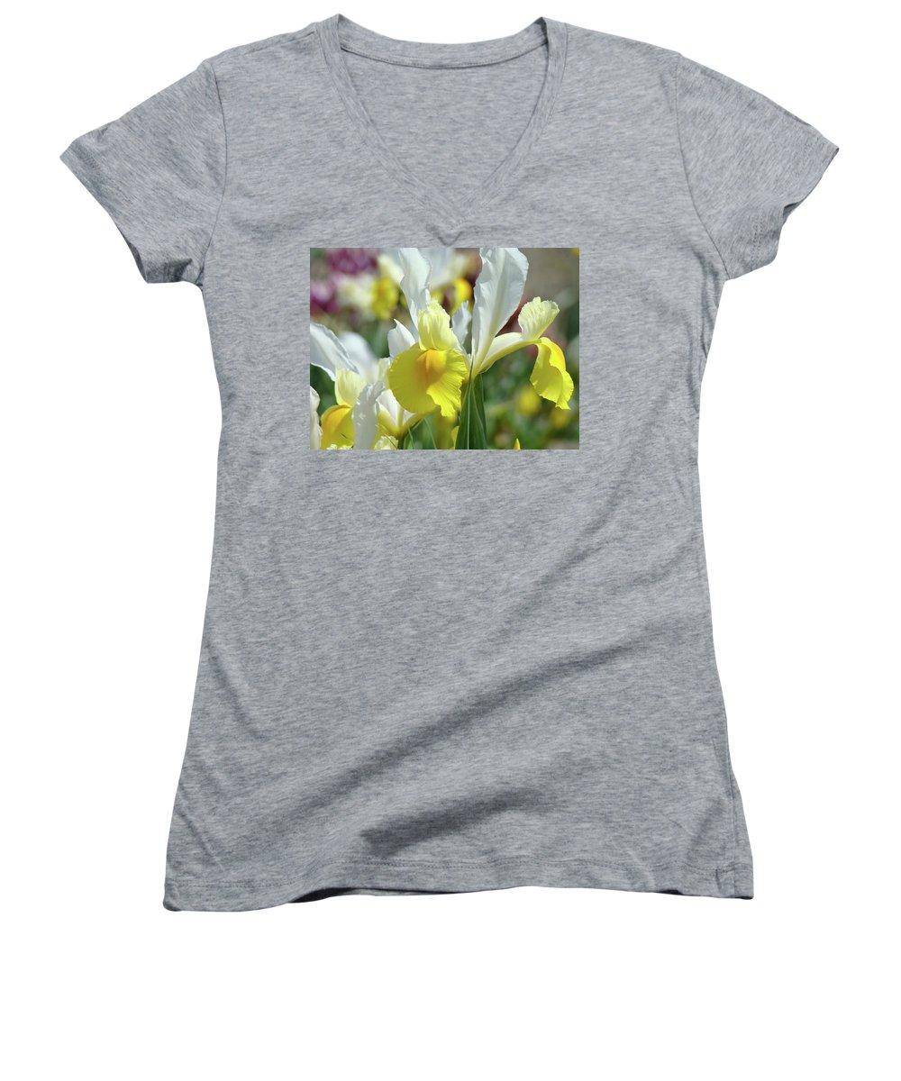 �irises Artwork� Women's V-Neck (Athletic Fit) featuring the photograph Yellow Irises Flowers Iris Flower Art Print Floral Botanical Art Baslee Troutman by Baslee Troutman