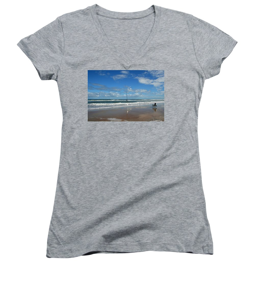 Fish Fishing Vacation Beach Surf Shore Rod Pole Chair Blue Sky Ocean Waves Wave Sun Sunny Bright Women's V-Neck T-Shirt featuring the photograph You Could Have Been There by Andrei Shliakhau