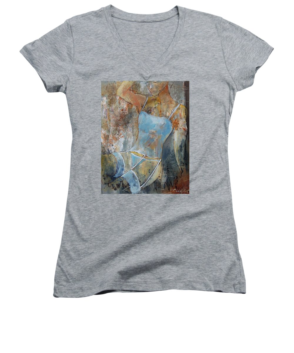 Nude Women's V-Neck T-Shirt featuring the painting Young Girl 451108 by Pol Ledent