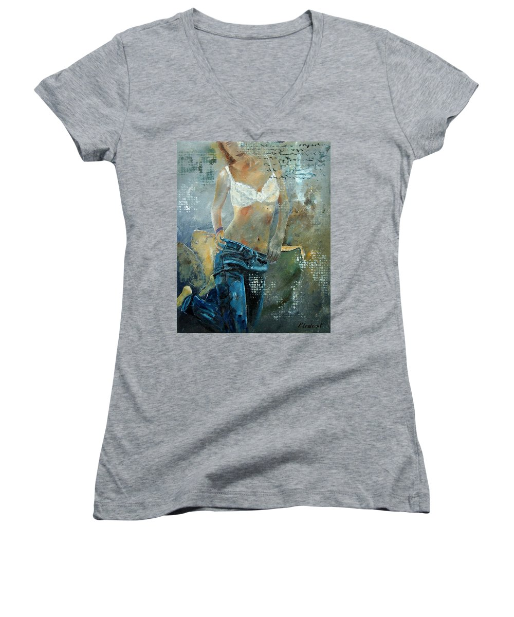 Girl Women's V-Neck T-Shirt featuring the painting Young Girl In Jeans by Pol Ledent