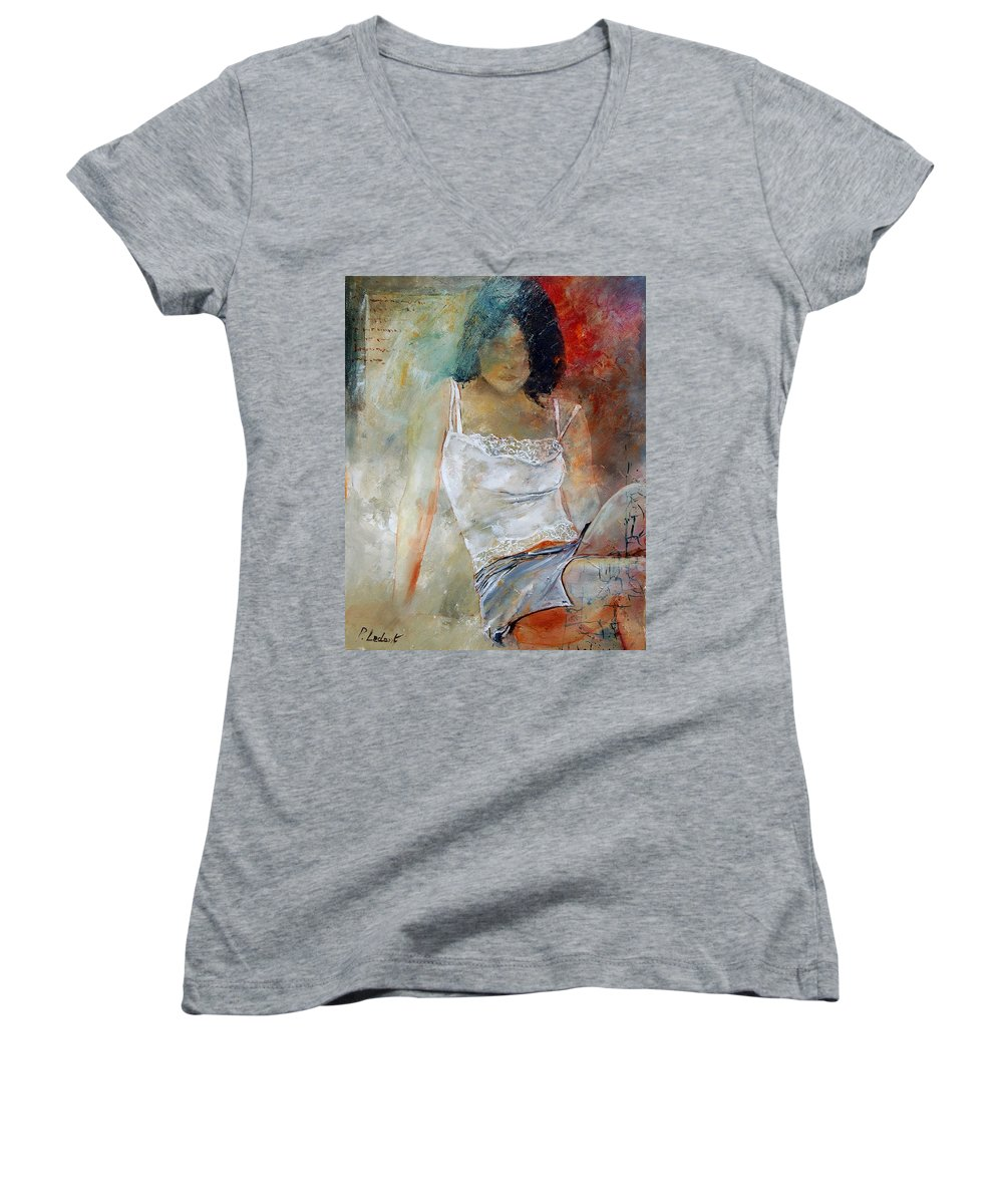 Nude Women's V-Neck (Athletic Fit) featuring the painting Young Girl Sitting by Pol Ledent