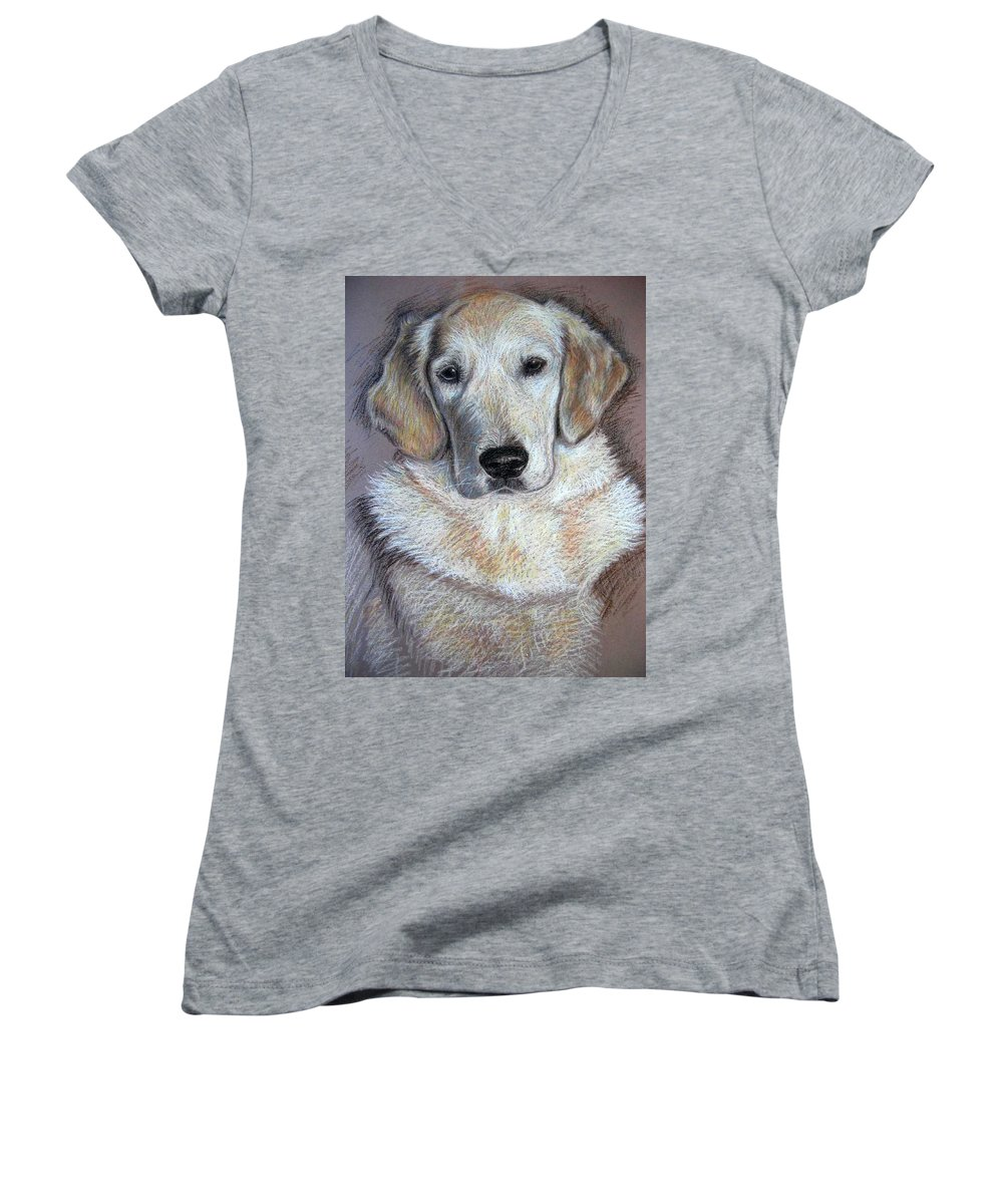 Dog Women's V-Neck (Athletic Fit) featuring the pastel Young Golden Retriever by Nicole Zeug