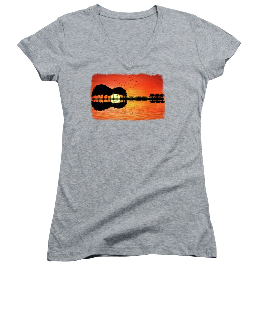 Guitar Women's V-Neck featuring the digital art Guitar Island Sunset by Psycho Shadow