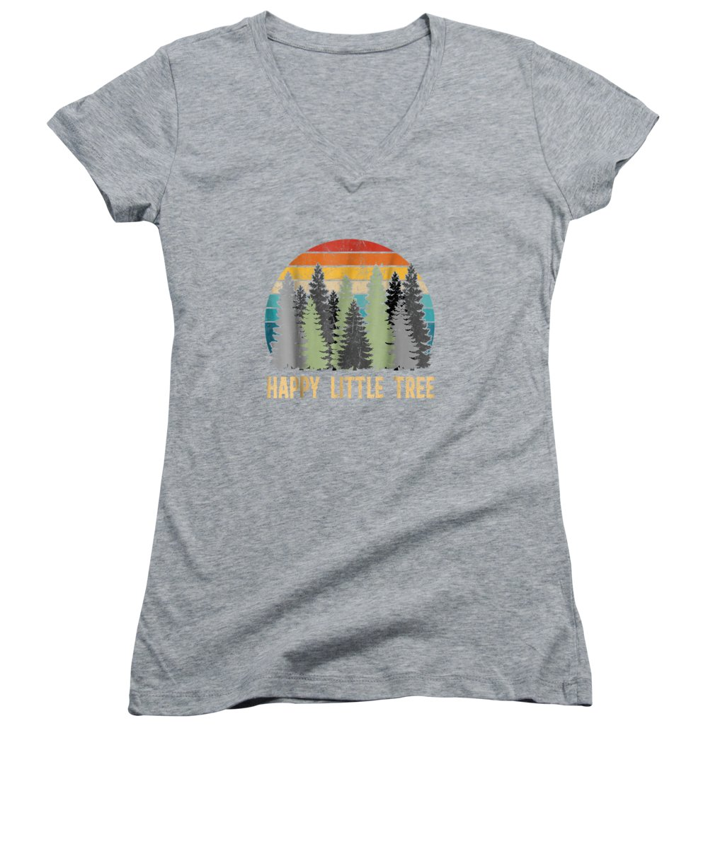 girls' Novelty T-shirts Women's V-Neck featuring the digital art Happy Little Tree T-shirts by Unique Tees