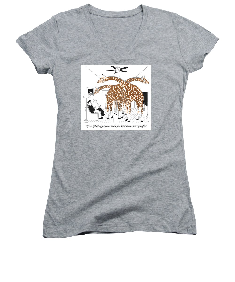 """if We Get A Bigger Place We'll Just Accumulate More Giraffes."" Women's V-Neck featuring the drawing More giraffes by Seth Fleishman"