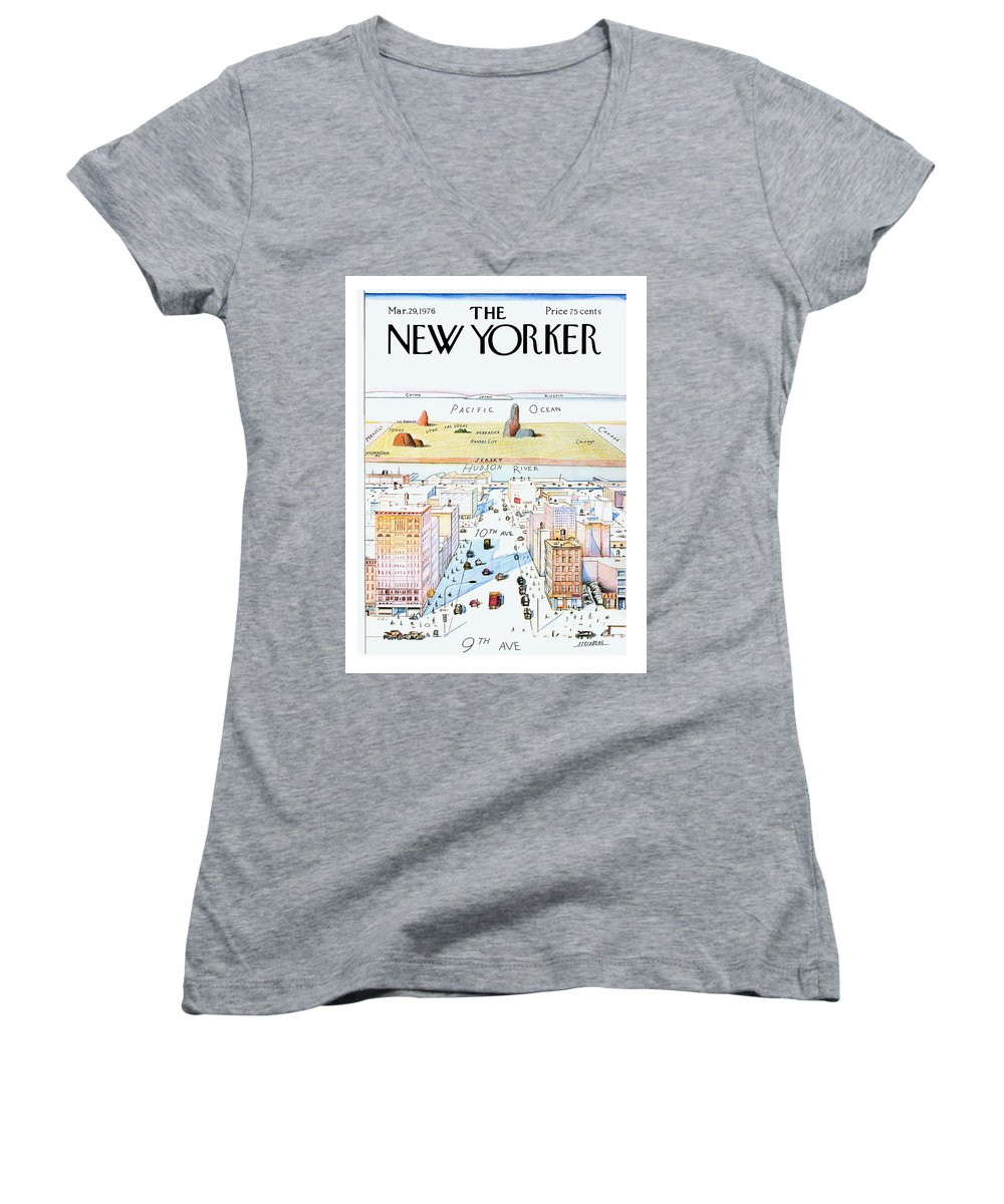 #condenastnewyorkercover Women's V-Neck featuring the painting New Yorker March 29, 1976 by Saul Steinberg