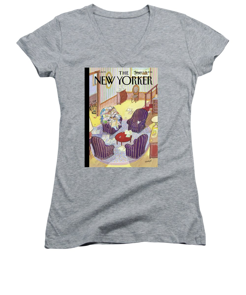 Reading Group Women's V-Neck featuring the drawing Reading Group by Jean-Jacques Sempe