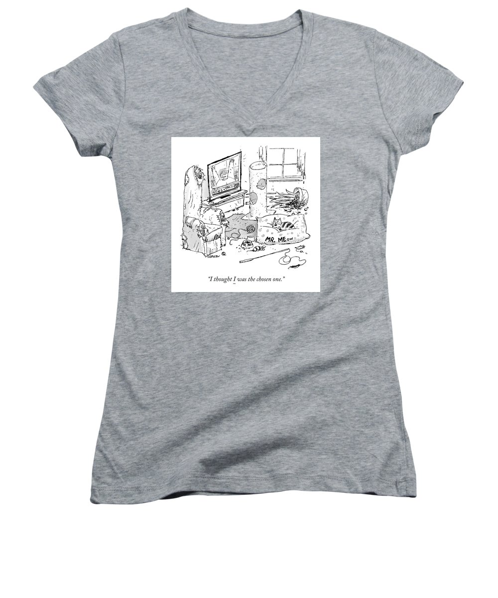 I Thought I Was The Chosen One. Women's V-Neck featuring the drawing The Chosen One by Tim Hamilton