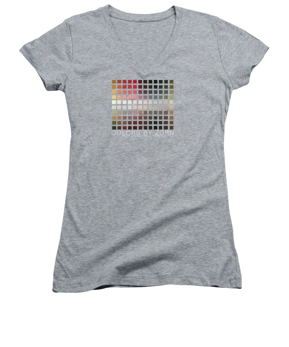 Zorn Color Palette Women's V-Neck featuring the painting Colors By Zorn by Michael Lynn Adams