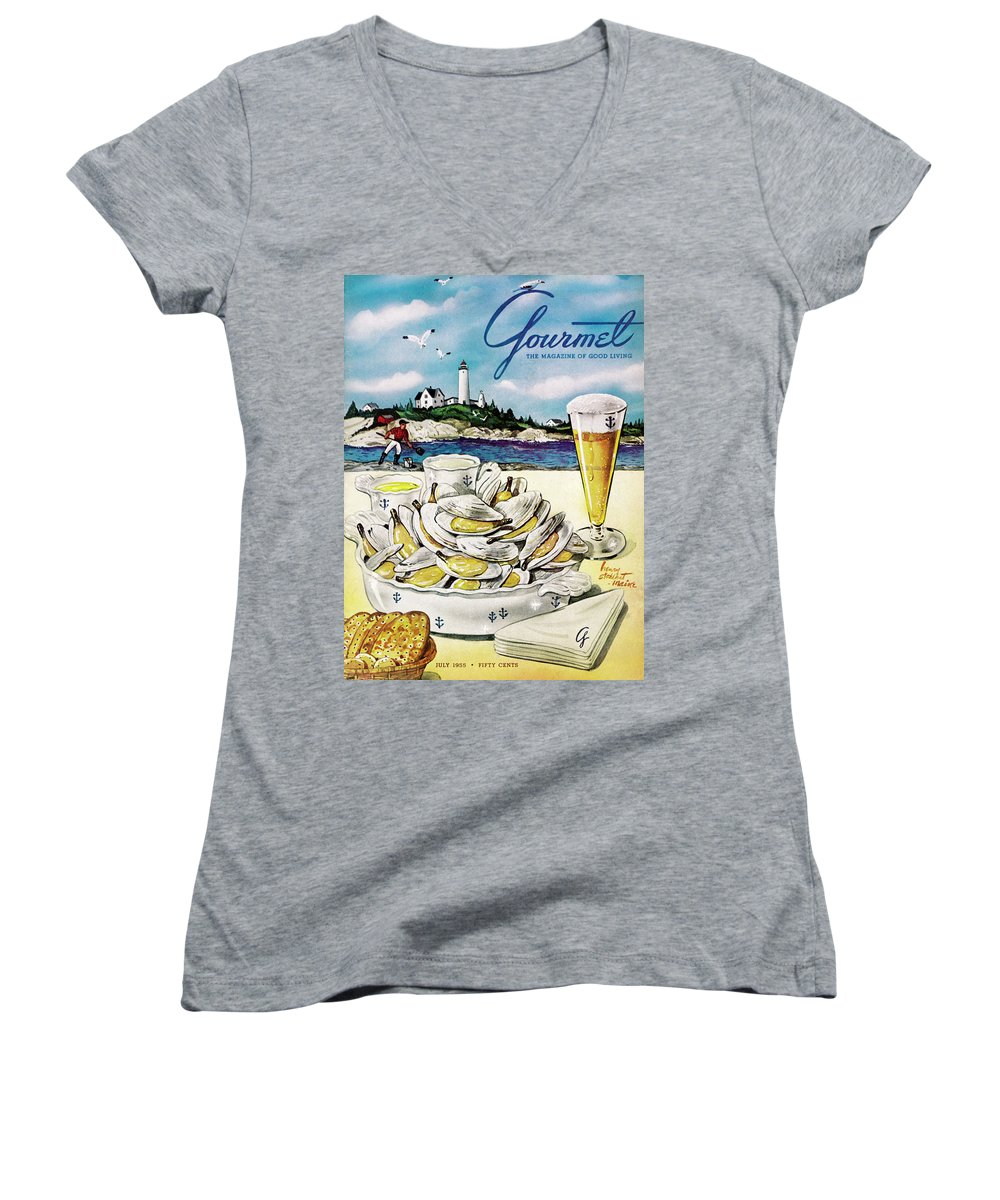 Entertainment Women's V-Neck featuring the painting Gourmet Cover of Clams and Beer by Henry Stahlhut