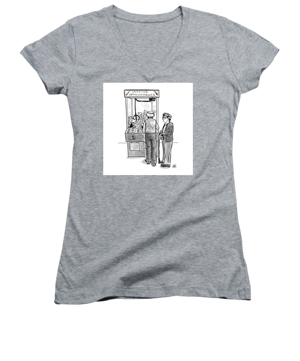 Captionless Women's V-Neck featuring the drawing New Yorker February 24, 2021 by Ali Solomon