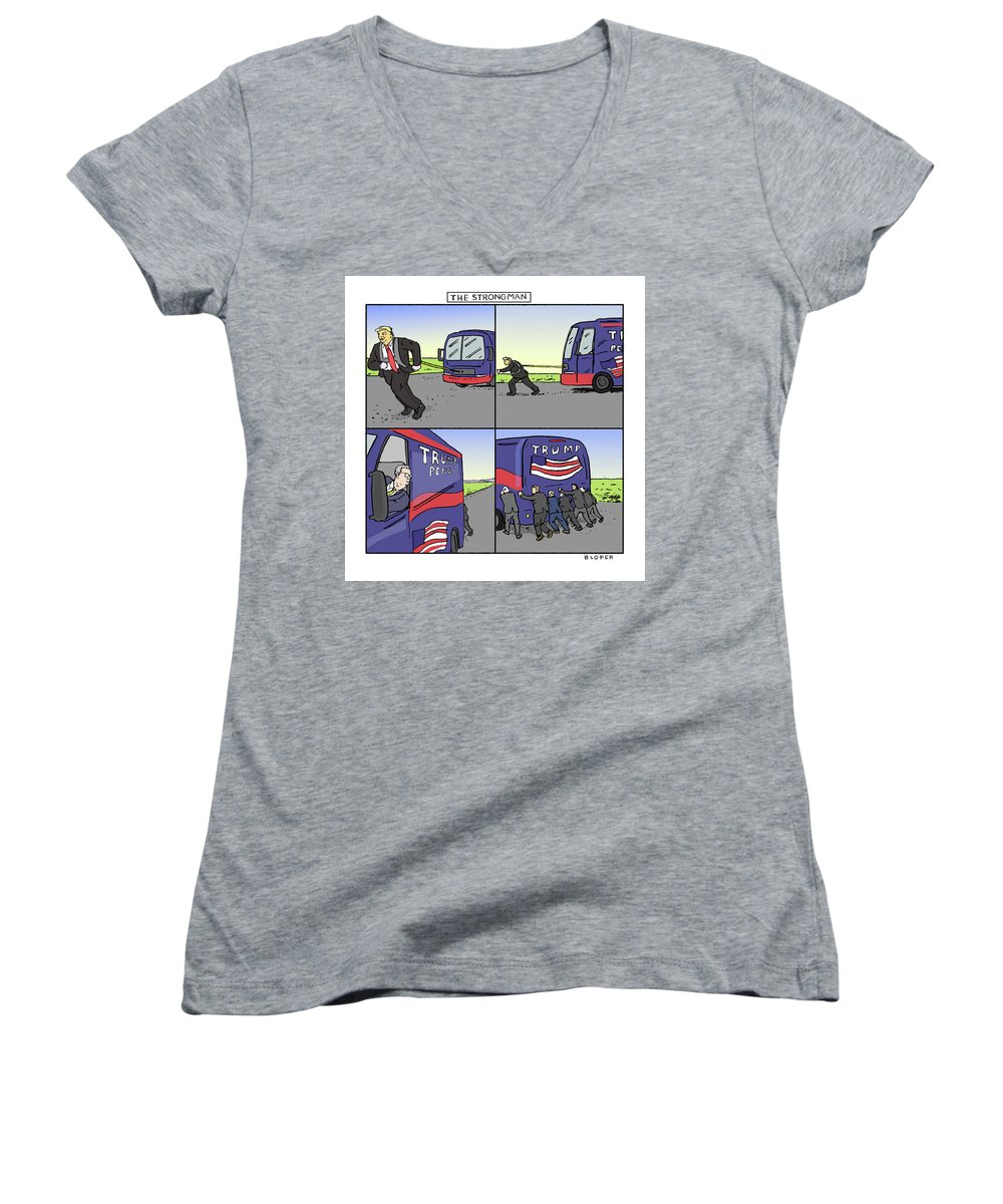 Captionless Women's V-Neck featuring the drawing The Strongman by Brendan Loper