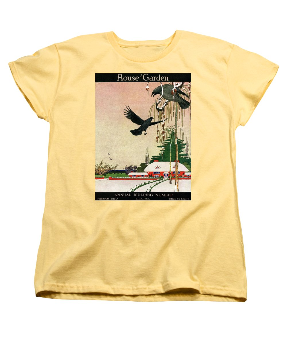 Illustration Women's T-Shirt (Standard Fit) featuring the photograph A House And Garden Cover Of Crows By A House by Charles Livingston Bull