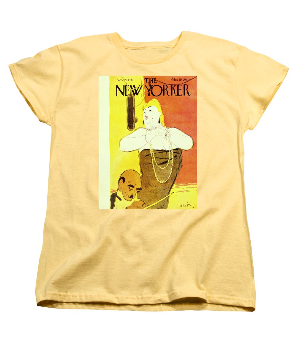 Illustration Women's T-Shirt (Standard Fit) featuring the painting New Yorker November 26 1932 by William Crawford Galbraith