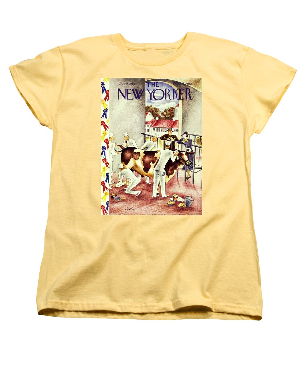 Animal Women's T-Shirt (Standard Fit) featuring the painting New Yorker October 5 1935 by Constantin Alajalov