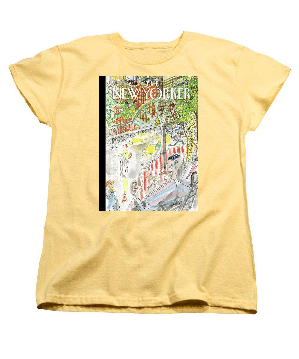 Biking In The Rain Women's T-Shirt (Standard Fit) featuring the painting Biking In The Rain by Jean-Jacques Sempe