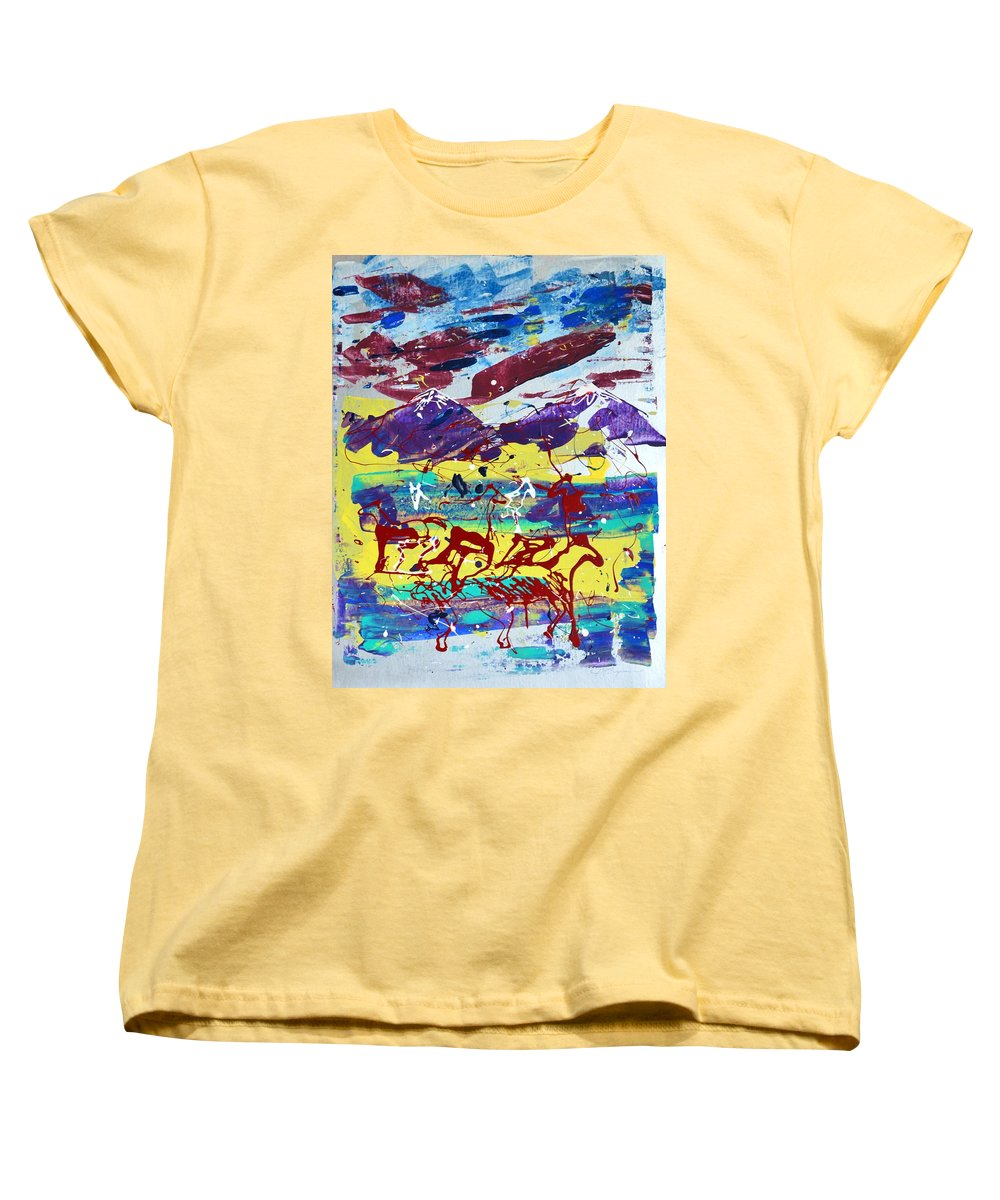 Horses Grazing Women's T-Shirt (Standard Cut) featuring the painting Green Pastures And Purple Mountains by J R Seymour