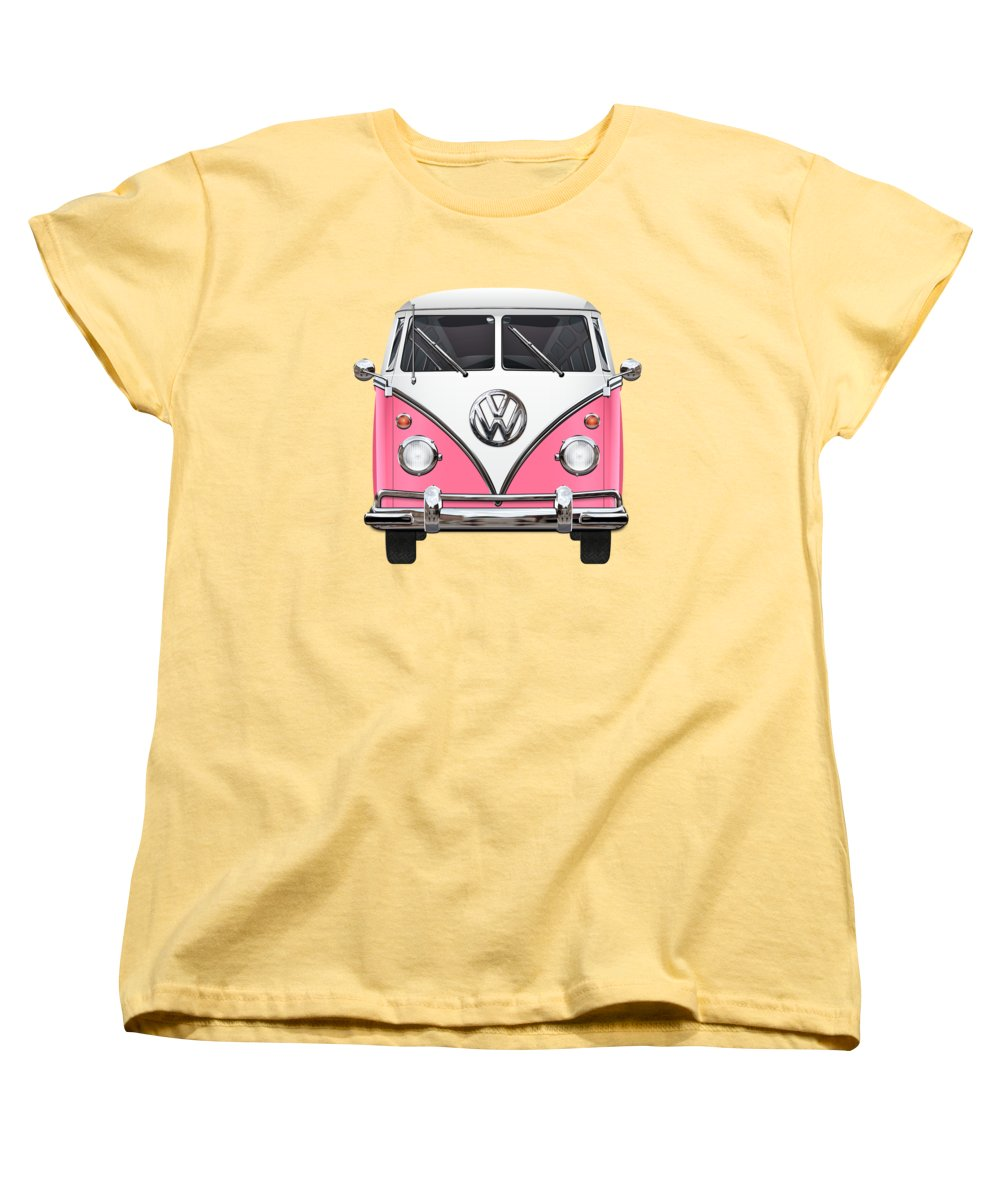 'volkswagen Type 2' Collection By Serge Averbukh Women's T-Shirt (Standard Cut) featuring the photograph Pink And White Volkswagen T 1 Samba Bus On Yellow by Serge Averbukh