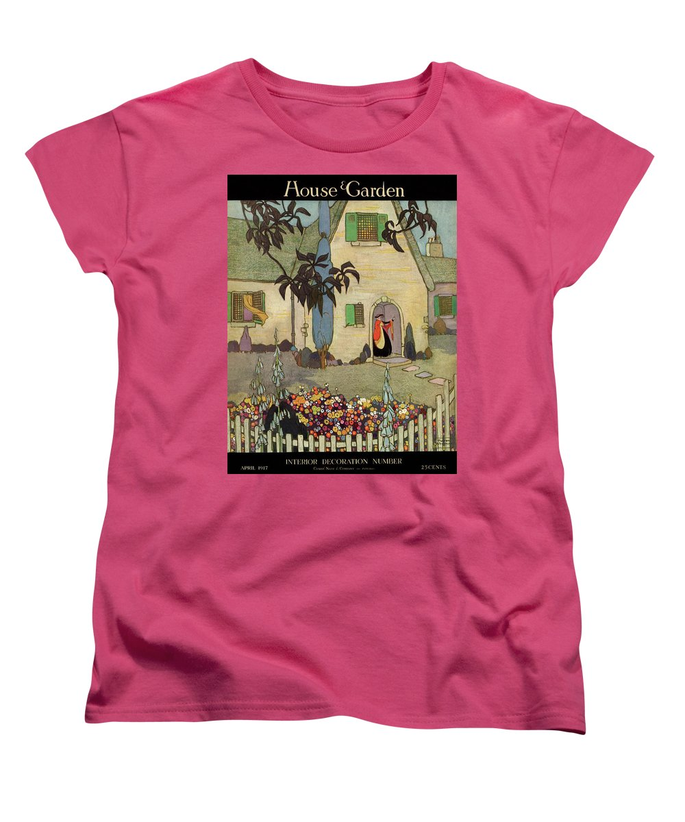 House & Garden Women's T-Shirt (Standard Fit) featuring the photograph House & Garden Cover Illustration Of An by Porter Woodruff