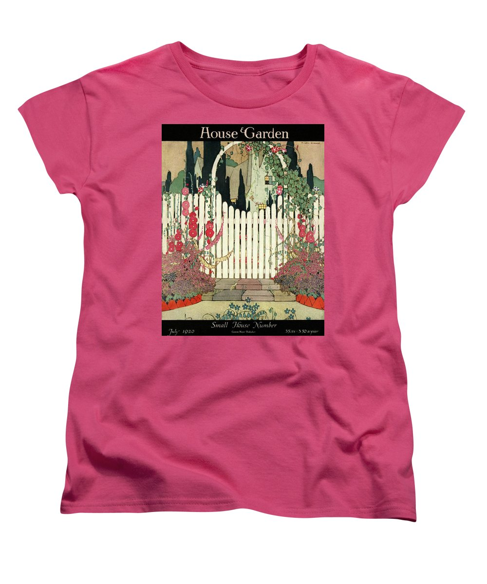 House And Garden Women's T-Shirt (Standard Fit) featuring the photograph House And Garden Small House Number by H. George Brandt