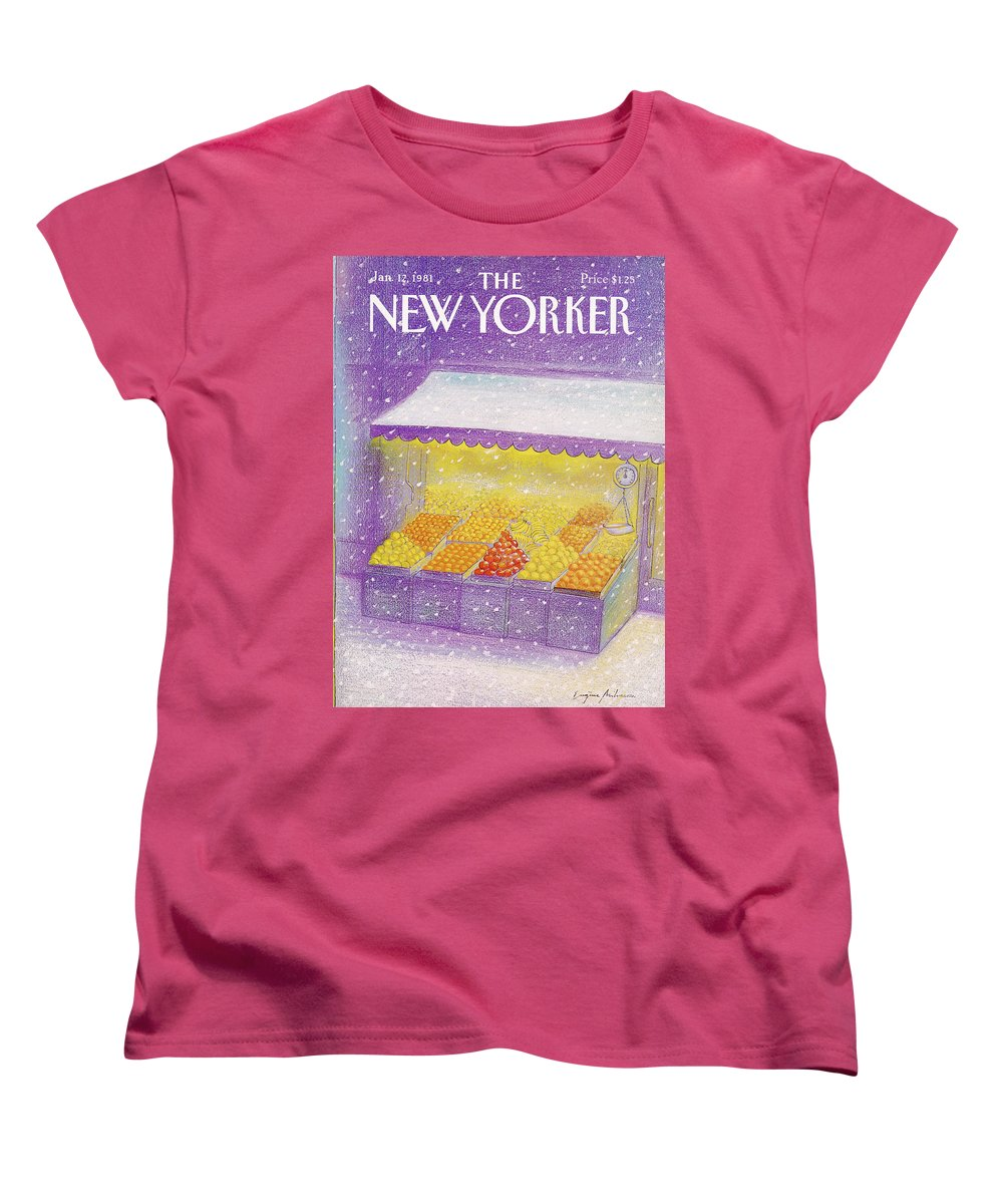 Season Women's T-Shirt (Standard Fit) featuring the painting New Yorker January 12th, 1981 by Eugene Mihaesco