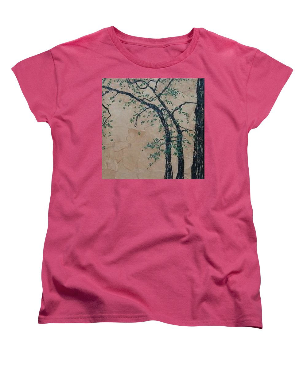 Leafy Tree Women's T-Shirt (Standard Cut) featuring the painting Canandaigua Lake by Leah Tomaino