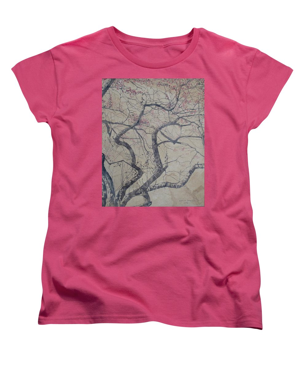 Crab Apple Women's T-Shirt (Standard Cut) featuring the painting Prairie Fire by Leah Tomaino