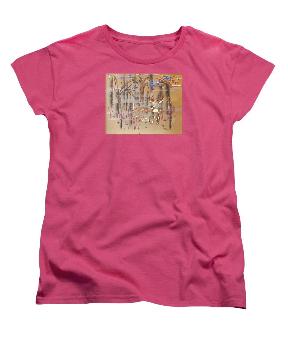 Buck In Tree Line Women's T-Shirt (Standard Cut) featuring the painting Everwatchful by J R Seymour