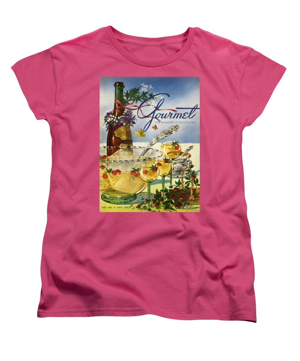 Illustration Women's T-Shirt (Standard Fit) featuring the photograph Gourmet Cover Featuring A Bowl And Glasses by Henry Stahlhut