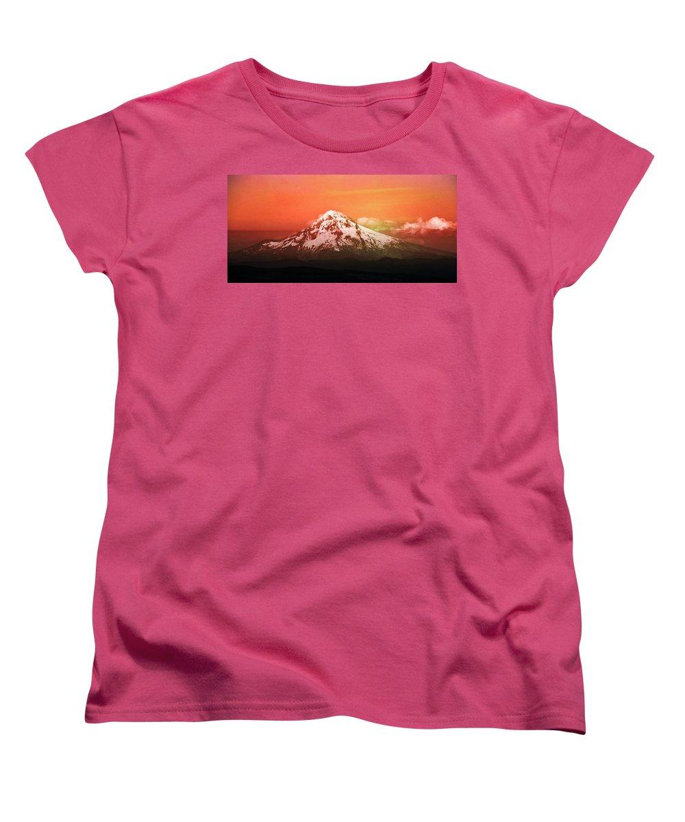 Mt Hood Women's T-Shirt (Standard Cut) featuring the photograph Mt Hood Oregon Sunset by Aaron Berg