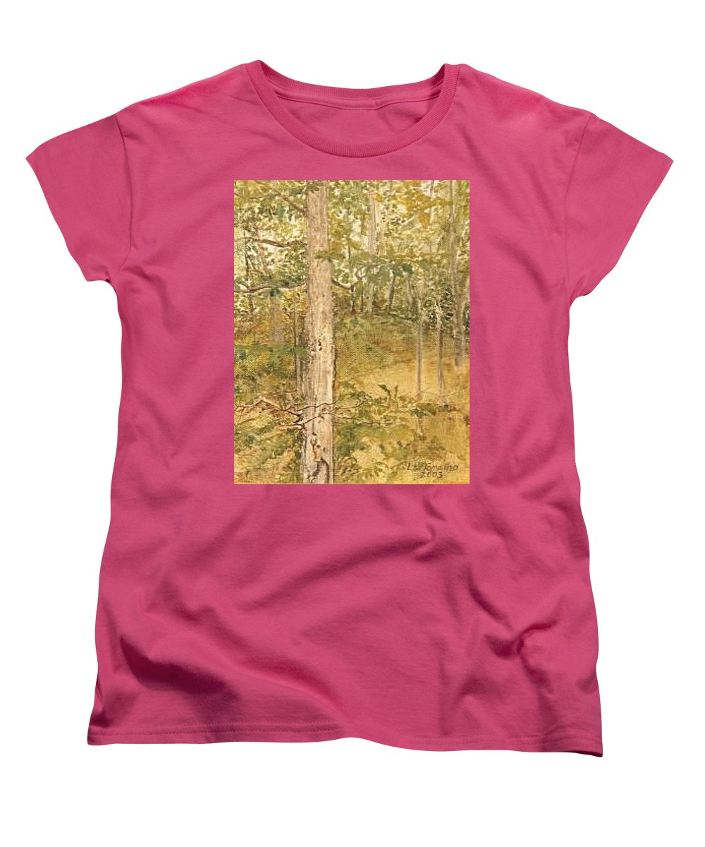 Trees Women's T-Shirt (Standard Cut) featuring the painting Raystown Lake by Leah Tomaino
