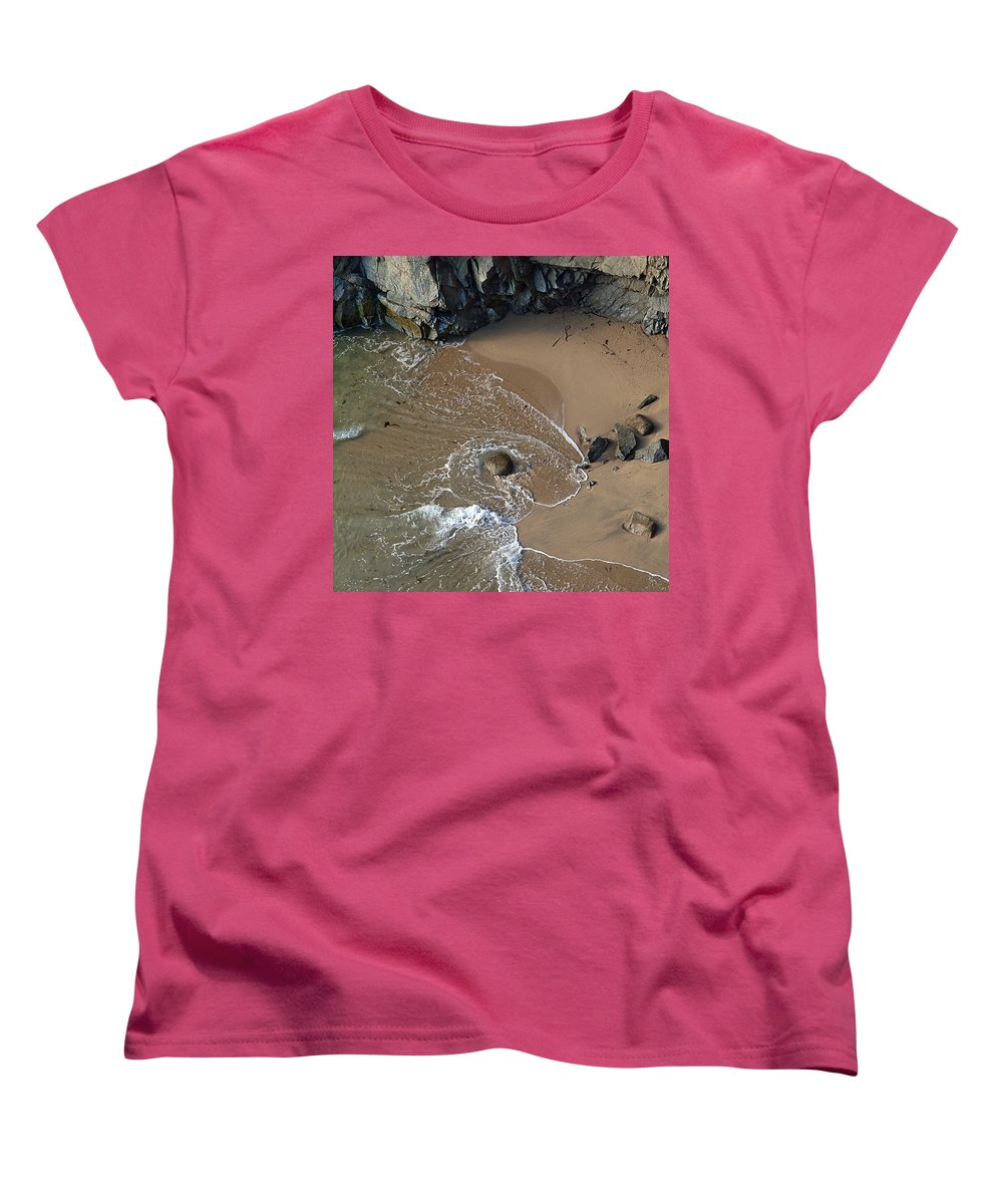 Big Sur Women's T-Shirt (Standard Cut) featuring the photograph Swirling Surf And Rocks by Charlene Mitchell