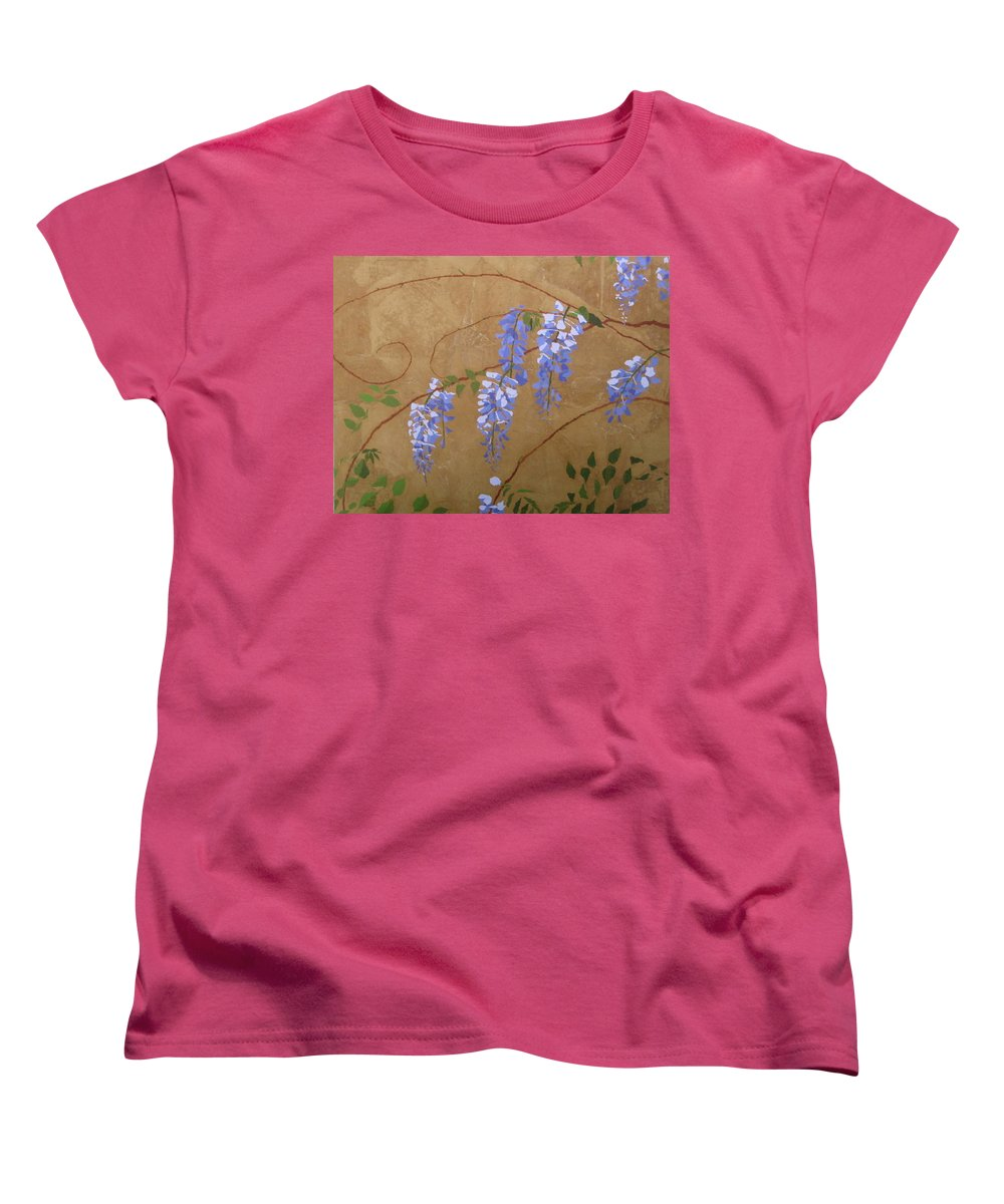 Periwinkle Wisteria Flowers Women's T-Shirt (Standard Cut) featuring the painting Wisteria by Leah Tomaino
