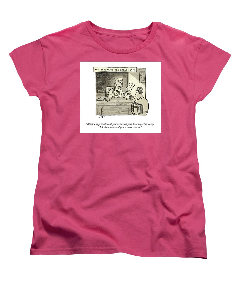 While I Appreciate That You've Turned You Book Report In Early Women's T-Shirt (Standard Fit) featuring the drawing William Barr The Early Years by Peter Kuper