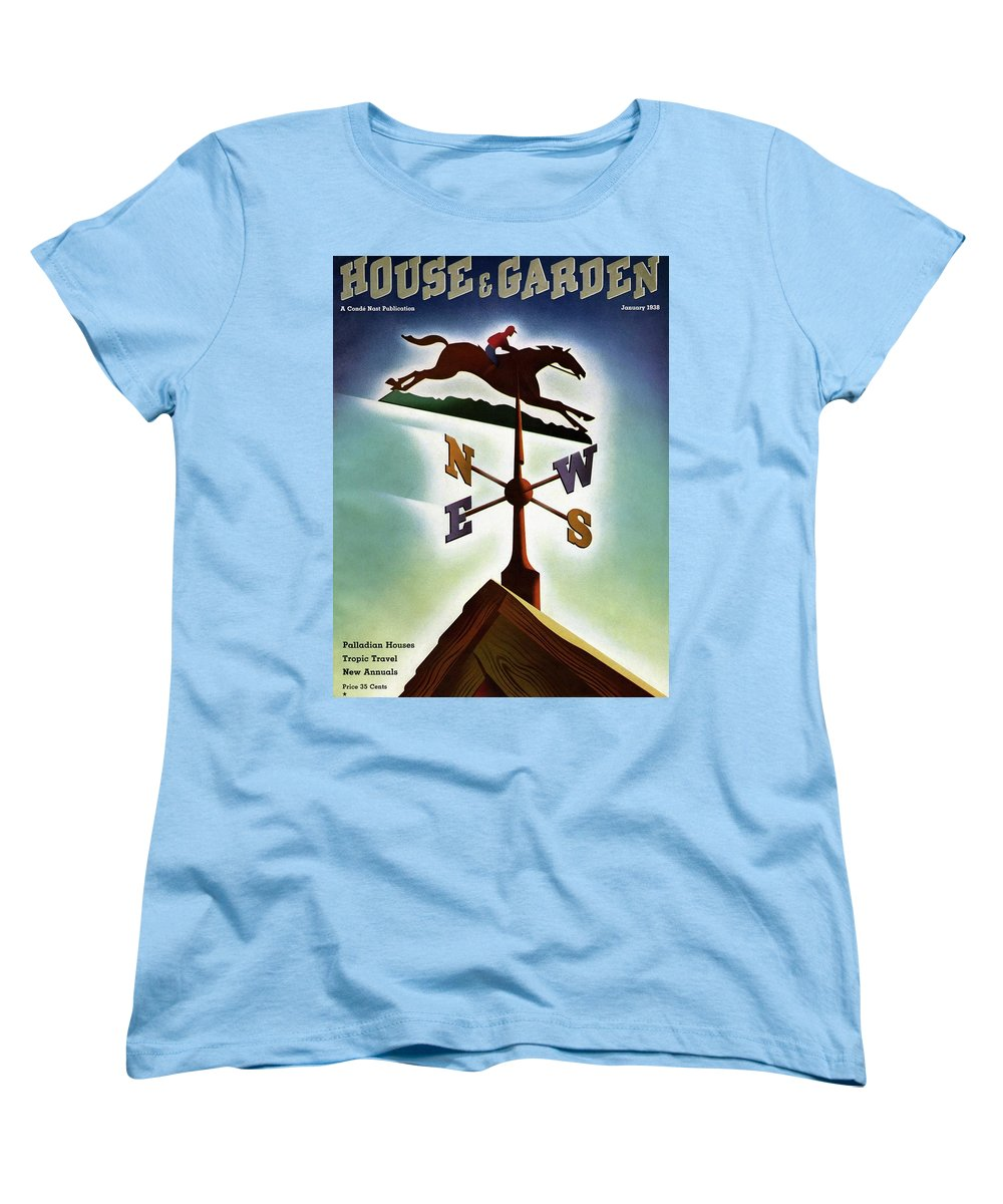 House And Garden Women's T-Shirt (Standard Fit) featuring the photograph A Weathervane With A Racehorse by Joseph Binder
