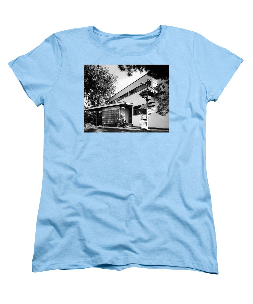 Home Women's T-Shirt (Standard Fit) featuring the photograph Outdoor Spiral Staircase To The Roof-deck Of Mr by Robert M. Damora